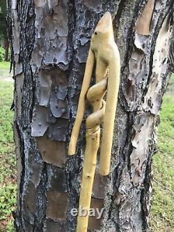 Bâton De Marche En Bois / Bâton De Randonnée À La Main Sculpté Aux États-unis Bois De Chêne 64