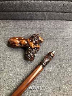 Bâton De Marche En Bois Cane Lion Roi Animal Bois Sculpté Canne À Pied