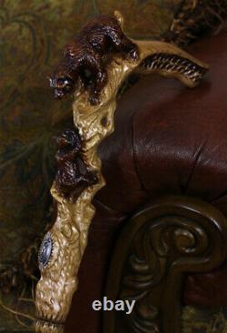 Bâton De Marche En Bois Canne Mère Ours Main Sculptée Lumière Unique Confortable