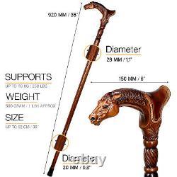 Bâton De Marche En Bois De Canne Designer Avec Saddle Animal Bois Sculpté