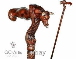 Bâton De Marche En Bois Ox Bull Poignée De Palmier Ergonomique Poignée De Canne À Pied