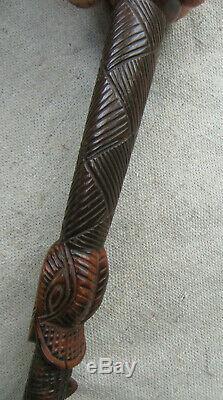 Bâton De Marche En Bois Sculpté Canne Serpent Motif Mexicain