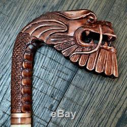 Bâton De Marche En Bois Unique Bâton De Randonnée Personnel Sculpté À La Main Dragon Riche
