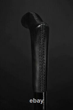 Bâton De Marche En Cuir Noir Derby Canne En Bois Pour La Main Cadeau Sculpté Baston