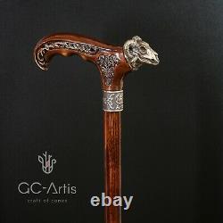 Bâton De Marche En Métal Canne Bronze Ram Skull Laiton Manche En Bois Foncé, Style Goth