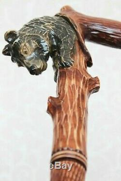 Bâton De Marche Ours Sur Un Arbre Canne En Bois Bâton De Main Fait À La Main Bâton Sculpté
