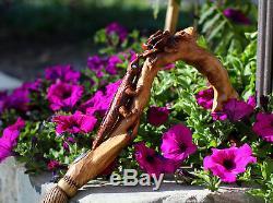 Bâton De Marche Sculpté À La Main, Jolie Canne En Bois, Conçu, Fleur, Lumière, Femmes, Dames