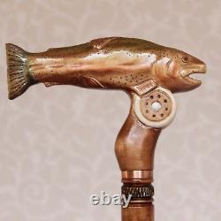 Bâton De Marche Sculpté Fish Rainbow Trout Wood Handmade Wooden Staff Fishing