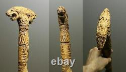 Bâton De Marche Wooden Carved Walking Stick Cadeau Fait Main