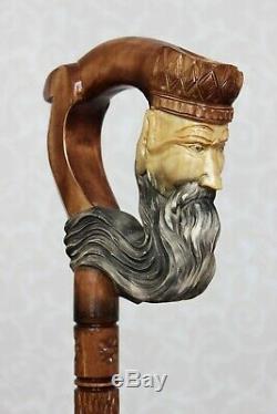 Bâton En Bois Canne Neptune Marche Poignée Sculptée