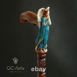 Bâton En Bois De Canne De Marche Christian Angel Cadeau Élégant De Dames Légères Pour La Femme D
