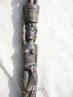 Bâton En Bois Sculpté, Époque Russe Impérial. 19ème Siècle