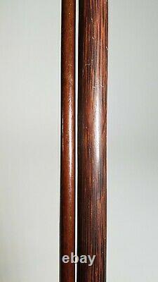 Bâtons Antiques De Marche De Canne En Bois 35 Lot De 2 Profil Mince D'art Folklorique