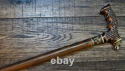 Bear Wooden Walking Stick Cane Randonnée Personnel Unique Handmade Bronze Oak