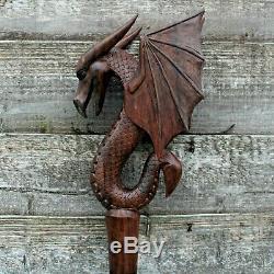 Big Bali Marche En Bois Bâton De Cérémonie Du Personnel Winged Dragon Suar Ornement En Bois