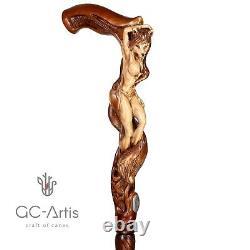 Bois Sculpté Bâton De Marche Cane Foxy Naked Girl En Bois Cadeau Fabriqué À La Main Pour Les Hommes