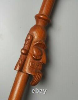 Bonne Grande Île De Pâques Vintage Sculpté En Bois Oceanic Moai Walking Stick W Face