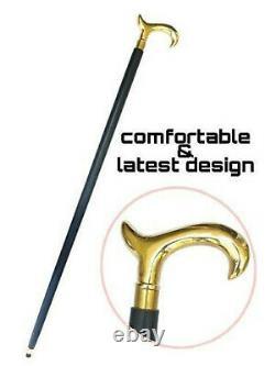 Brass Designer Poignée Vintage Walking Derby Head Wooden Shaft Victorian Stick