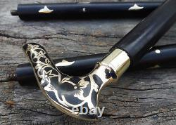 Brass Victorian Head Handle Wooden Vintage Style Bâton De Canne À Pied Designer Nouveau