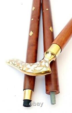 Brass Victorian Style Tête Poignée Bâton De Marche Canes Arbre Canne À Pied En Bois