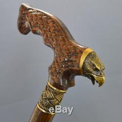 Bronze Aigle Canne Main Bâton De Marche En Bois Accessoires Unique Hommes Chêne