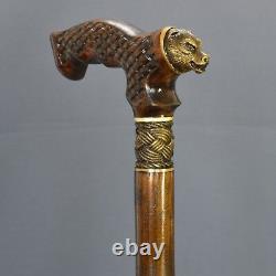 Bronze Dark Bear Cane Handmade Walking Stick Wooden Unique Accessoires Homme Chêne