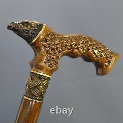 Bronze Dragon Cane Handmade Bâton De Marche En Bois Accessoires Homme Unique Chêne