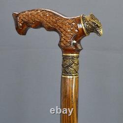 Bronze Hawk Cane Handmade Bâton De Marche En Bois Unique Hommes Accessoires Chêne
