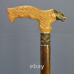 Bronze Wolf Cane Handmade Bâton De Marche En Bois Accessoires Uniques Pour Hommes