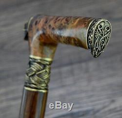 Burl Canes Bâtons De Marche Anches En Bois Bronze Bâton À La Main En Bois À La Main Pour Hommes # 12