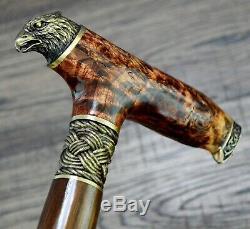 Burl Canes Bâtons De Marche En Bois Roseaux Bronze En Bois Fait Main Canne Bâton Hommes De # 19