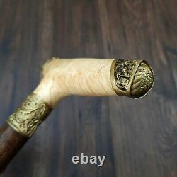 Burl Canes Sticks Marche Canne Bois De Marche Bâton De Bronze Fait Main M51