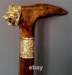 Burl Wooden Lion King Handmade Cane Walking Stick Accessoires Uniques Bronze Nouveau