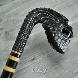 Cane Bâton De Marche En Bois Sculpté À La Main Vieux Dragon Noir