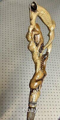 Cane En Bois Bâton De Marche Lion & Impala Couleur Foncée Sculptée Main