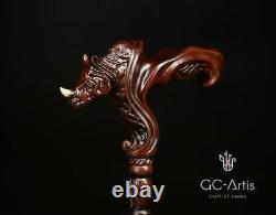 Cane En Bois Bâton De Marche Rhino Animal Africain Bois Sculpté Canne À Pied