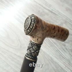 Cane Walking Stick Burl Poignée En Bois Fait Main Pièces De Bronze Uniques # 80