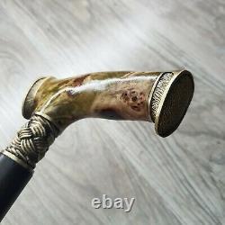 Cane Walking Stick Burl Poignée En Bois Fait Main Pièces De Bronze Uniques # 82