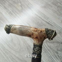 Cane Walking Stick Burl Poignée En Bois Fait Main Pièces En Bronze Unique # 85