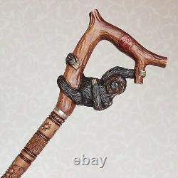 Canne À Pied Personnalisée Avec Poignée Sculptée À La Main Paresseux Et Arbre Bâton De Randonnée En Bois