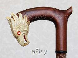 Canne Aigle D'amérique & Serpent Poignée Et Bâton Sculptés Canne En Bois Nw57