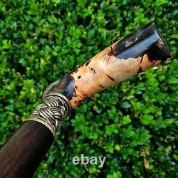 Canne Bâton À La Main En Bois Marche Canne Hybride Acrylique Burl Poignée Z2