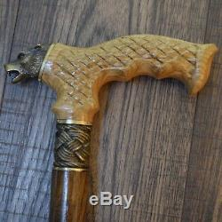 Canne Bâton Bronze Sauvage Loup Bois Bois De Fabrication Artisanale Canes Exclusive