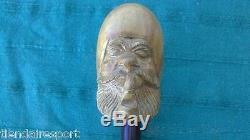 Canne Bâton Canne Guayacan En Bois Corne Pointe Marin Tuyau De Fumée Sculpté À La Main Vintage