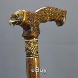 Canne Bâton De Marche Bronze Aigle En Bois Bois Handmade Canes Accessoires Pour Hommes Nouveau