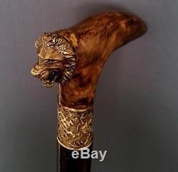 Canne Bâton De Marche Lion Wooden Burl Handmade Men's Accessoires Pour Femmes Nouveau