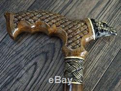 Canne Bâton Dragon De Bronze En Bois En Bois Accessoires Pour Hommes Handmade Canes Nouveau