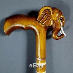 Canne Bâton Éléphant En Bois Fait Main Woodcarving Exclusif Handwork