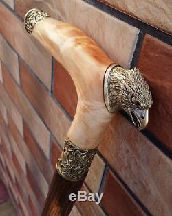 Canne Canne Bâton Aigle Tête De Bronze En Bois À La Main Loupe Rouge