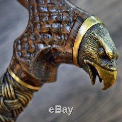 Canne Canne Bâton Bronze Aigle Noir Bois Bois De Fabrication Artisanale Canes